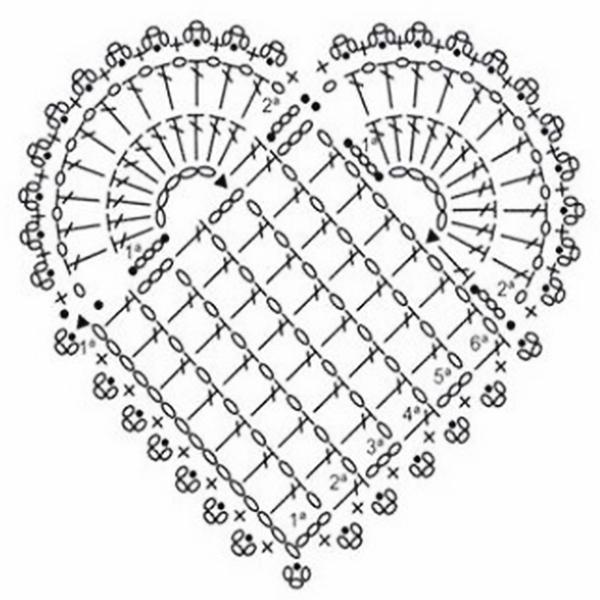 Сердечко крючком схемы для вязания